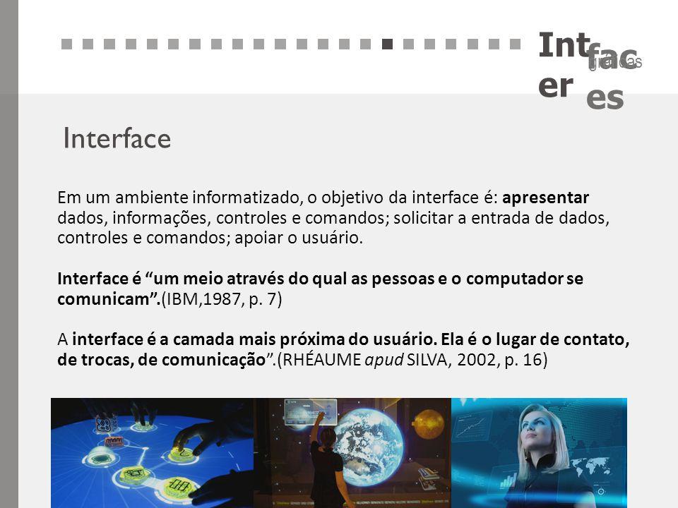 Int er fac es gráficas Interface Em um ambiente informatizado, o objetivo da interface é: apresentar dados, informações, controles e comandos; solicit