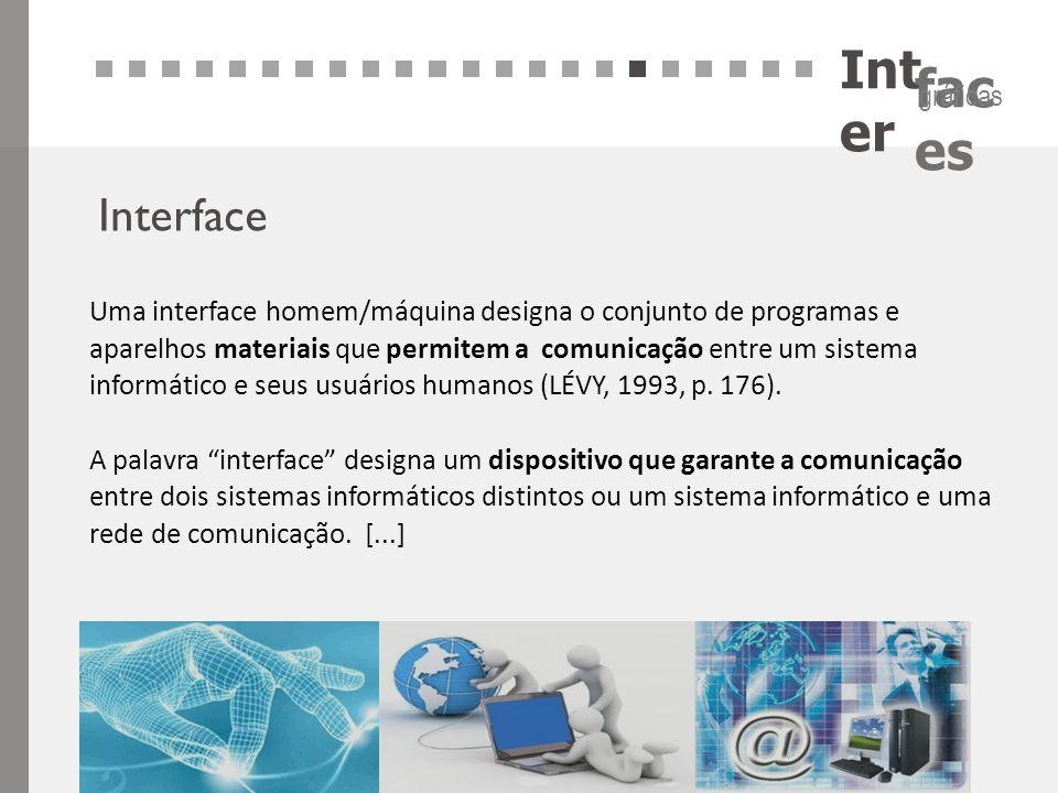 Int er fac es gráficas Interface Uma interface homem/máquina designa o conjunto de programas e aparelhos materiais que permitem a comunicação entre um