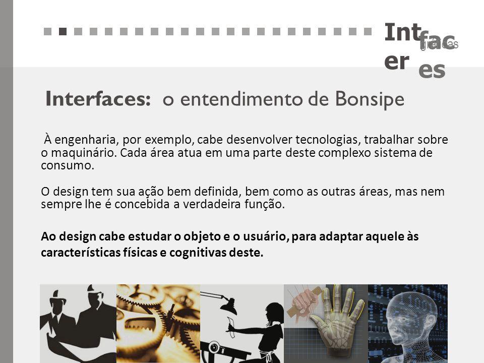 Int er fac es gráficas Interfaces: o entendimento de Bonsipe À engenharia, por exemplo, cabe desenvolver tecnologias, trabalhar sobre o maquinário. Ca