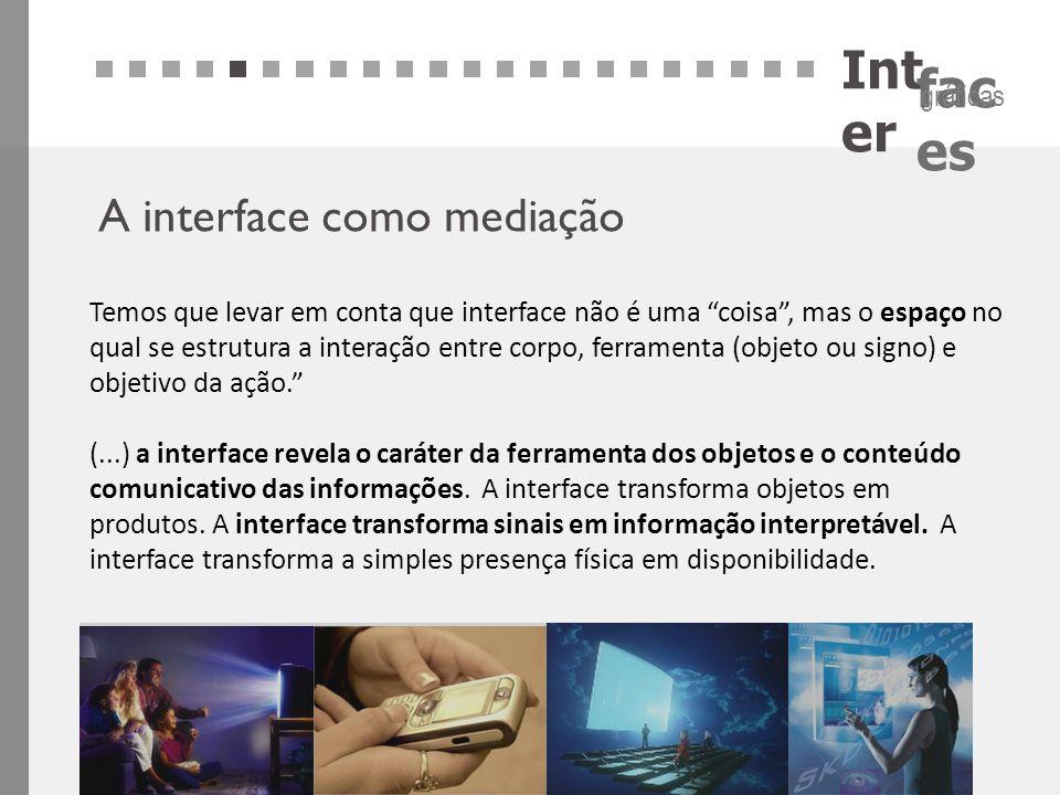 """Int er fac es gráficas A interface como mediação Temos que levar em conta que interface não é uma """"coisa"""", mas o espaço no qual se estrutura a interaç"""