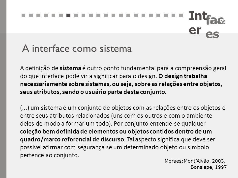 Int er fac es gráficas A interface como sistema A definição de sistema é outro ponto fundamental para a compreensão geral do que interface pode vir a