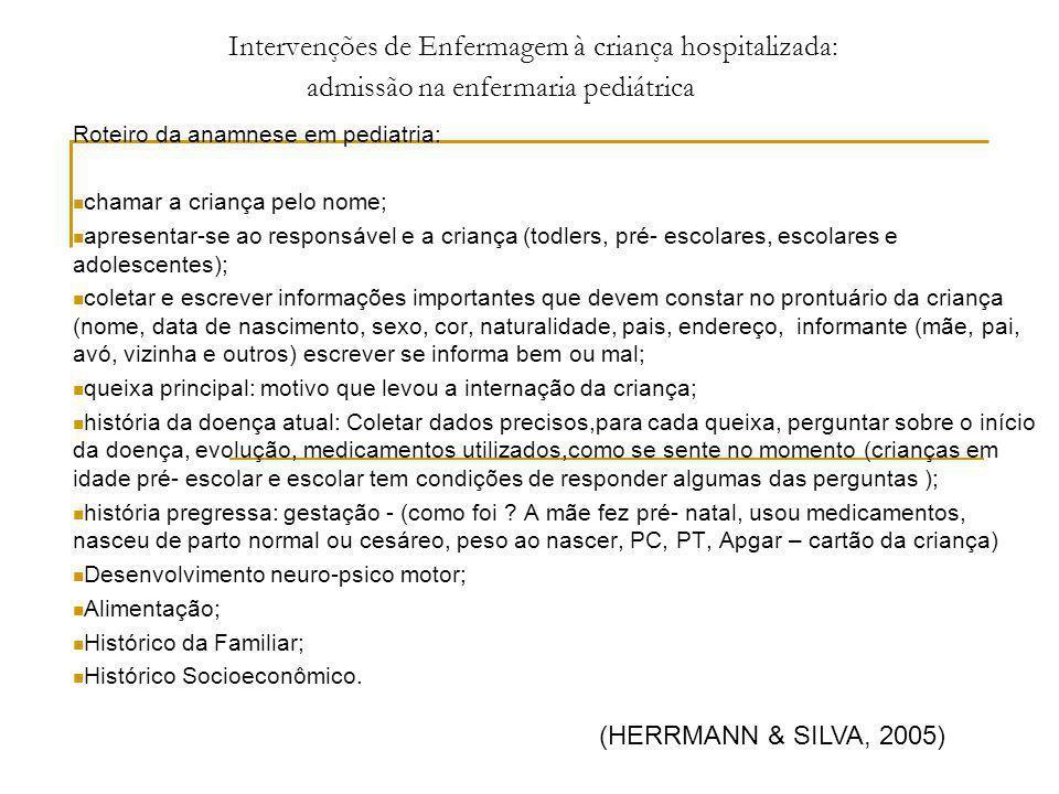 Intervenções de Enfermagem à criança hospitalizada: Roteiro da anamnese em pediatria: chamar a criança pelo nome; apresentar-se ao responsável e a cri