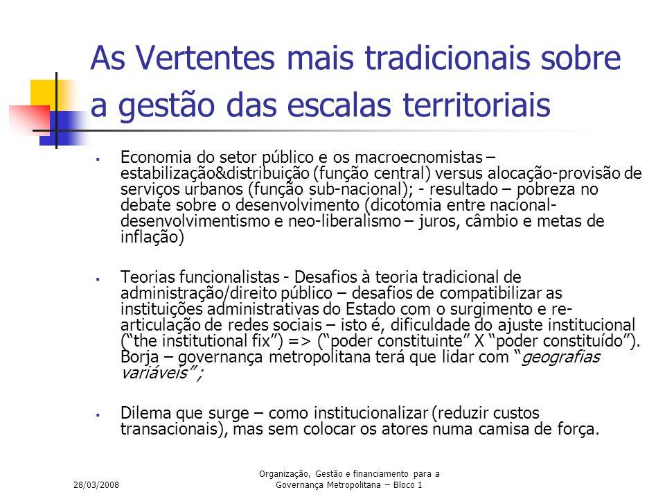28/03/2008 Organização, Gestão e financiamento para a Governança Metropolitana – Bloco 1 As Vertentes mais tradicionais sobre a gestão das escalas ter