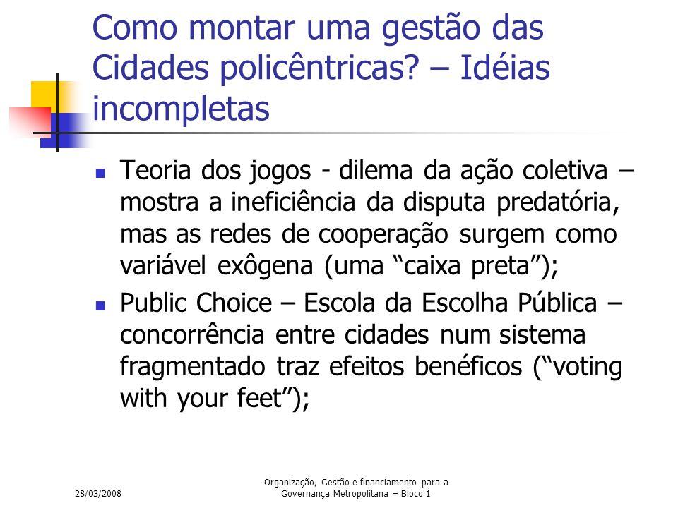 28/03/2008 Organização, Gestão e financiamento para a Governança Metropolitana – Bloco 1 Como montar uma gestão das Cidades policêntricas? – Idéias in