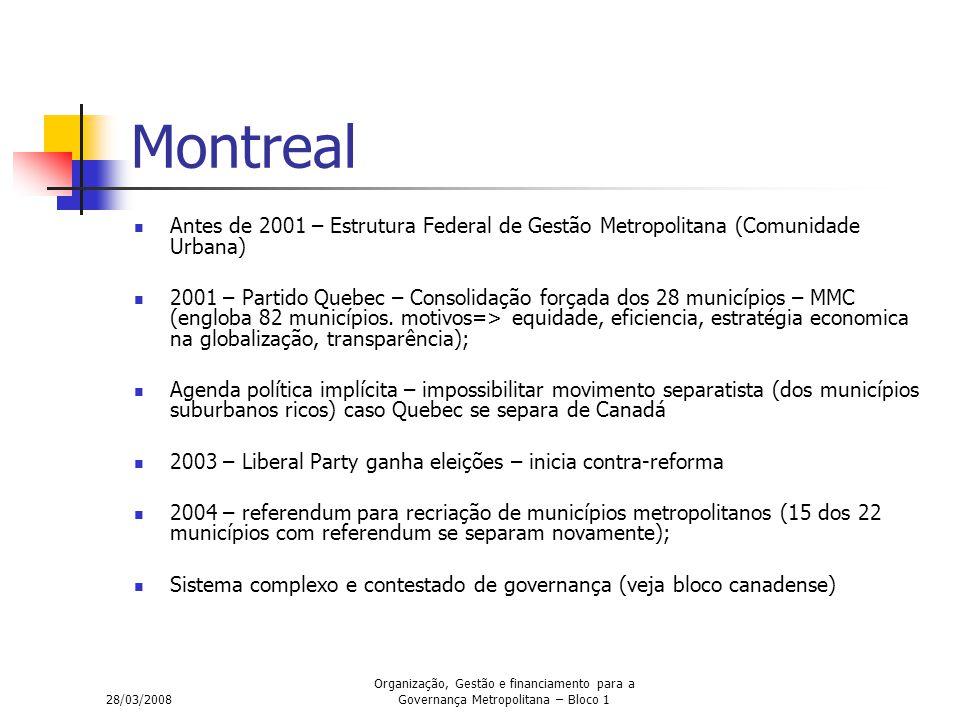 28/03/2008 Organização, Gestão e financiamento para a Governança Metropolitana – Bloco 1 Montreal Antes de 2001 – Estrutura Federal de Gestão Metropolitana (Comunidade Urbana) 2001 – Partido Quebec – Consolidação forçada dos 28 municípios – MMC (engloba 82 municípios.