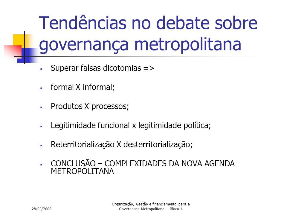 28/03/2008 Organização, Gestão e financiamento para a Governança Metropolitana – Bloco 1 Tendências no debate sobre governança metropolitana  Superar