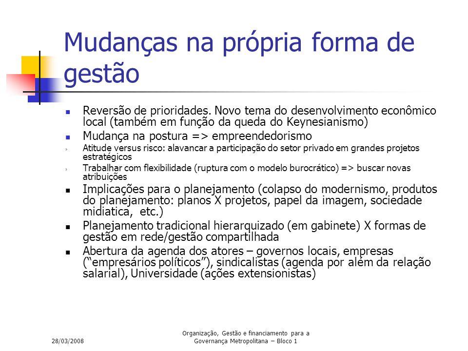 28/03/2008 Organização, Gestão e financiamento para a Governança Metropolitana – Bloco 1 Mudanças na própria forma de gestão Reversão de prioridades.