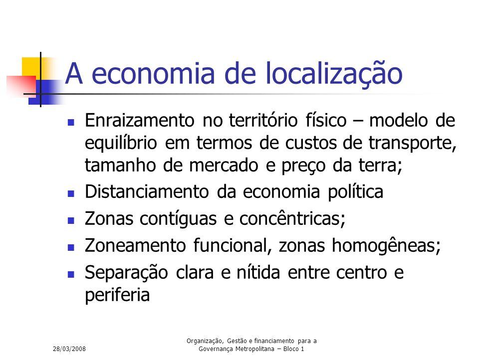 28/03/2008 Organização, Gestão e financiamento para a Governança Metropolitana – Bloco 1 A economia de localização Enraizamento no território físico –