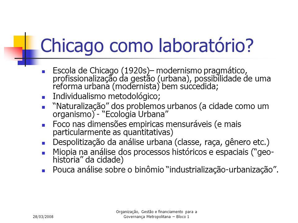 28/03/2008 Organização, Gestão e financiamento para a Governança Metropolitana – Bloco 1 Chicago como laboratório? Escola de Chicago (1920s)– modernis