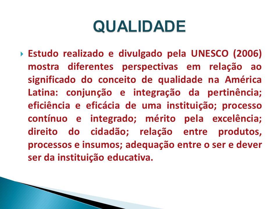  Estudo realizado e divulgado pela UNESCO (2006) mostra diferentes perspectivas em relação ao significado do conceito de qualidade na América Latina: