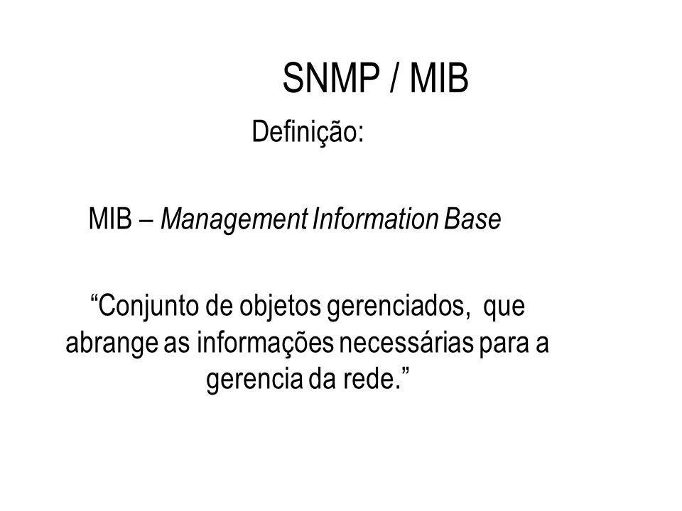 """SNMP / MIB Definição: MIB – Management Information Base """"Conjunto de objetos gerenciados, que abrange as informações necessárias para a gerencia da re"""