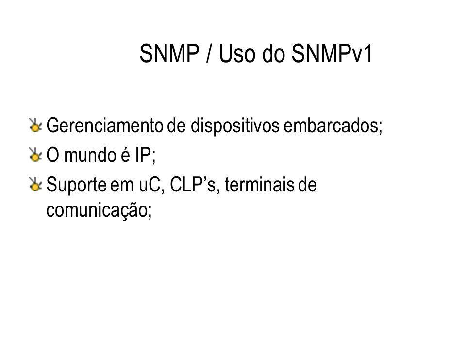 SNMP / Uso do SNMPv1 Gerenciamento de dispositivos embarcados; O mundo é IP; Suporte em uC, CLP's, terminais de comunicação;