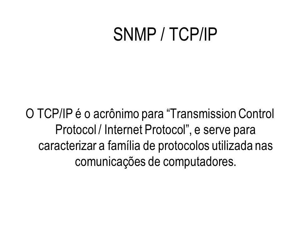 """SNMP / TCP/IP O TCP/IP é o acrônimo para """"Transmission Control Protocol / Internet Protocol"""", e serve para caracterizar a família de protocolos utiliz"""