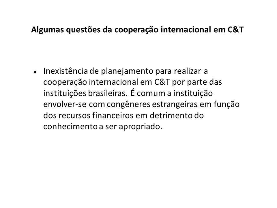 Inexistência de planejamento para realizar a cooperação internacional em C&T por parte das instituições brasileiras.