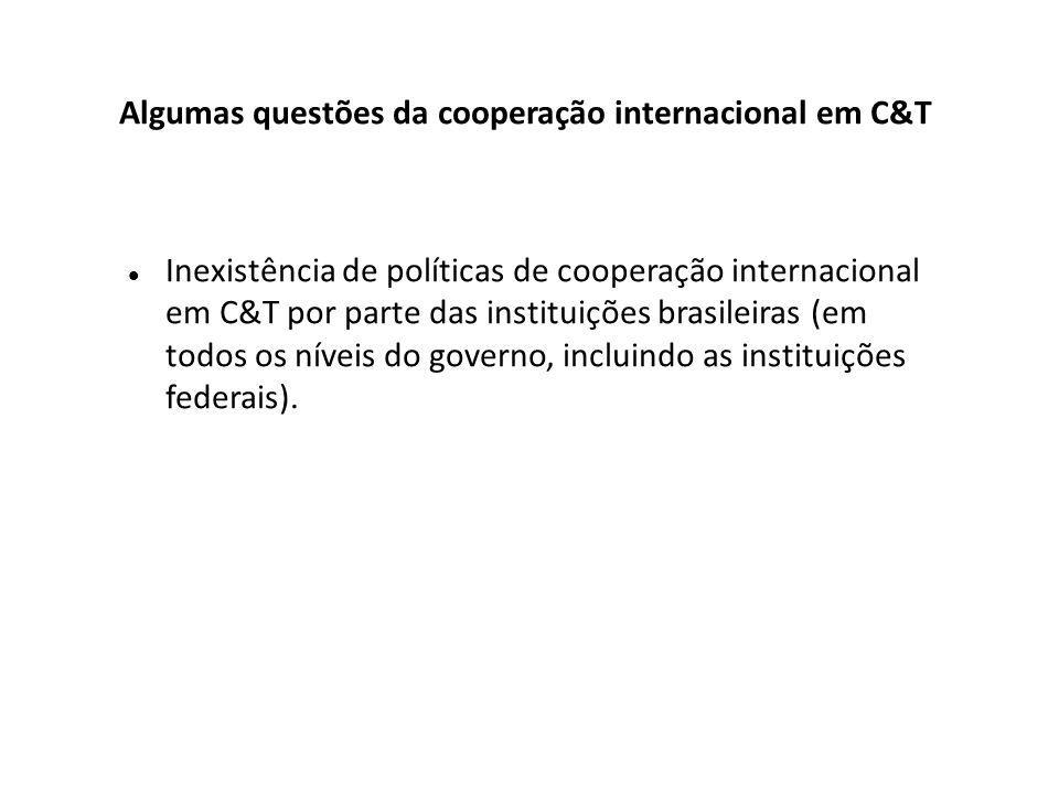Inexistência de políticas de cooperação internacional em C&T por parte das instituições brasileiras (em todos os níveis do governo, incluindo as instituições federais).