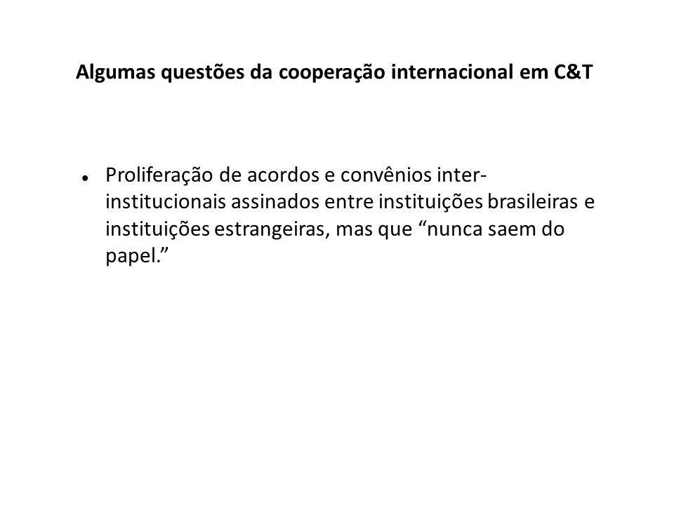 Proliferação de acordos e convênios inter- institucionais assinados entre instituições brasileiras e instituições estrangeiras, mas que nunca saem do papel. Algumas questões da cooperação internacional em C&T