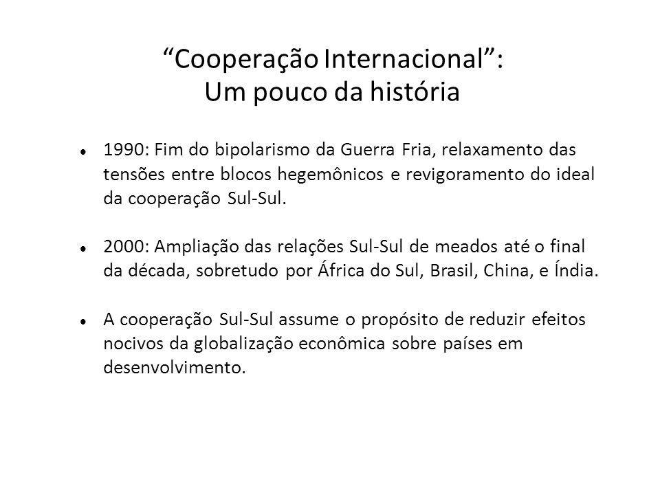 Cooperação Internacional : Um pouco da história 1990: Fim do bipolarismo da Guerra Fria, relaxamento das tensões entre blocos hegemônicos e revigoramento do ideal da cooperação Sul-Sul.