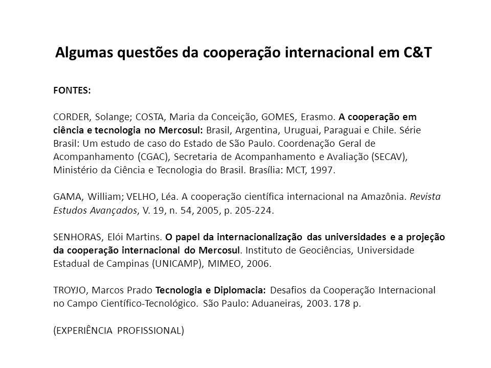 Algumas questões da cooperação internacional em C&T FONTES: CORDER, Solange; COSTA, Maria da Conceição, GOMES, Erasmo.
