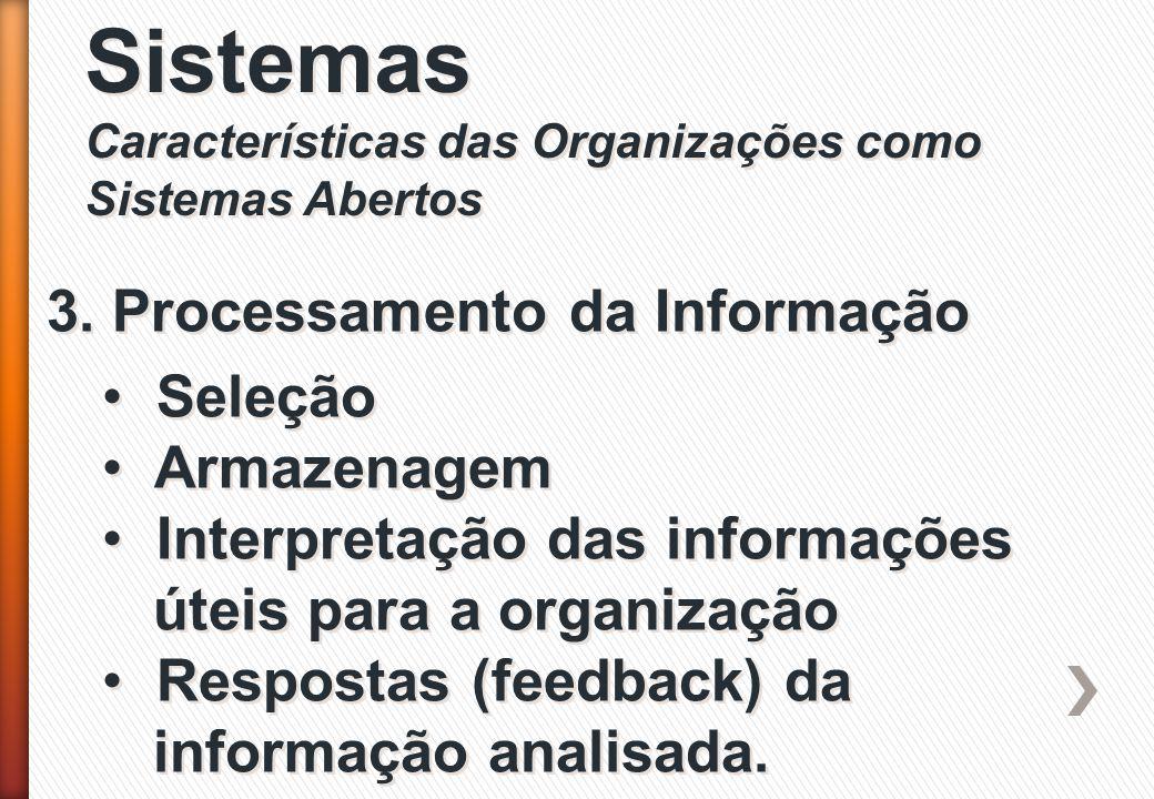 Sistemas Características das Organizações como Sistemas Abertos Sistemas Características das Organizações como Sistemas Abertos 3. Processamento da In