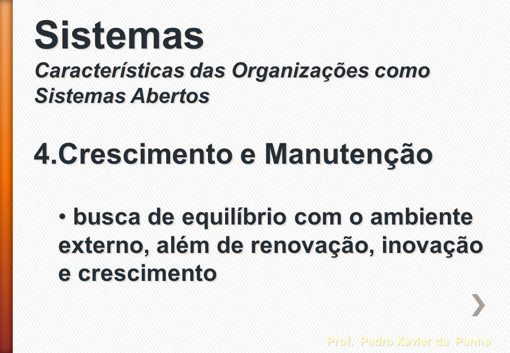 Sistemas Características das Organizações como Sistemas Abertos Sistemas Características das Organizações como Sistemas Abertos Prof. Pedro Xavier da