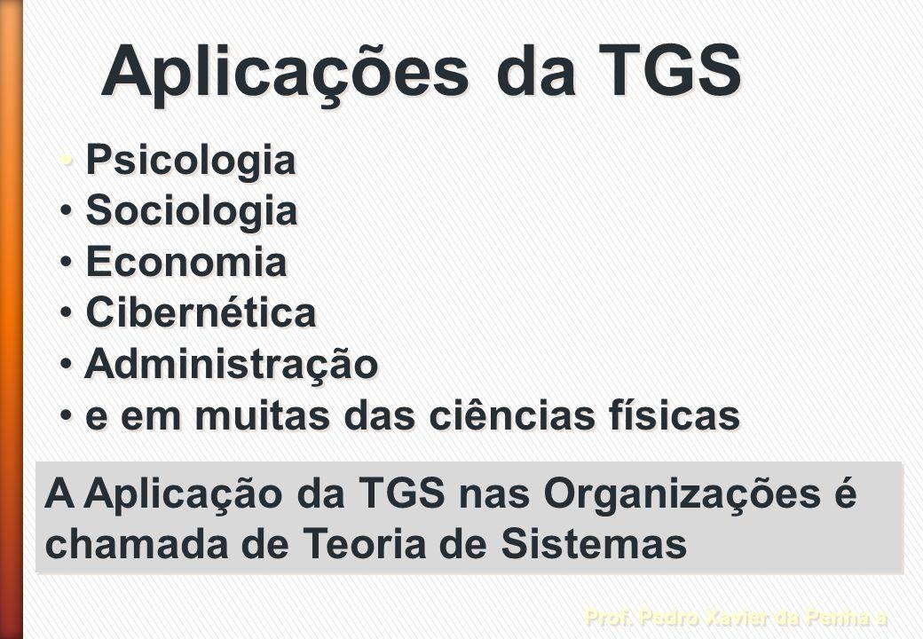 Aplicações da TGS Psicologia Sociologia Economia Cibernética Administração e em muitas das ciências físicas Psicologia Sociologia Economia Cibernética