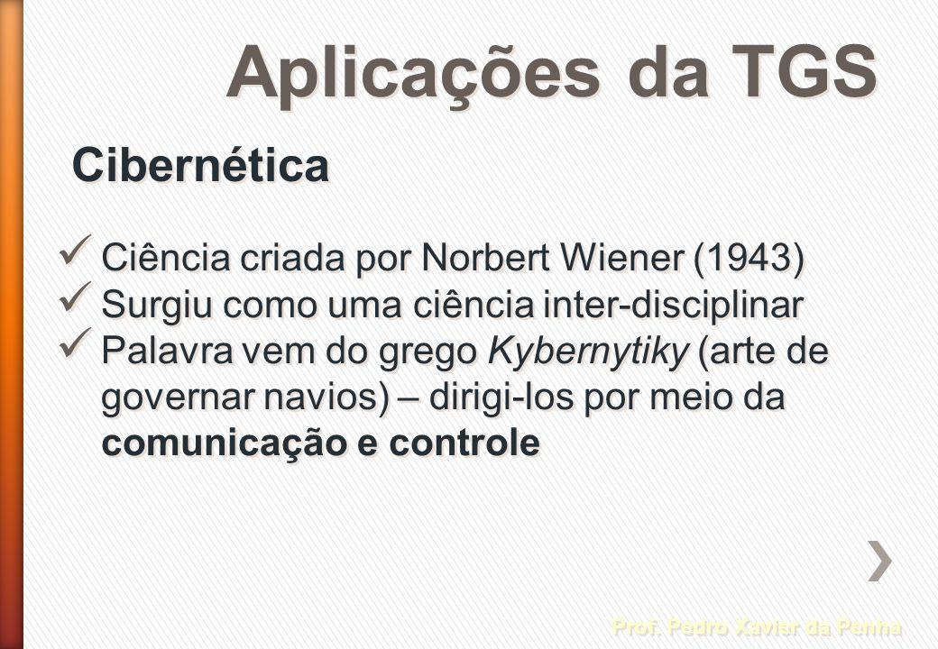 Aplicações da TGS Cibernética Prof. Pedro Xavier da Penha Ciência criada por Norbert Wiener (1943) Surgiu como uma ciência inter-disciplinar Palavra v