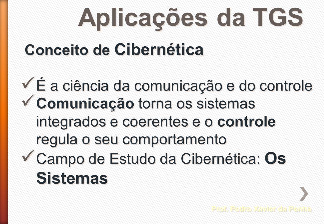 Aplicações da TGS Conceito de Cibernética Prof. Pedro Xavier da Penha É a ciência da comunicação e do controle Comunicação torna os sistemas integrado