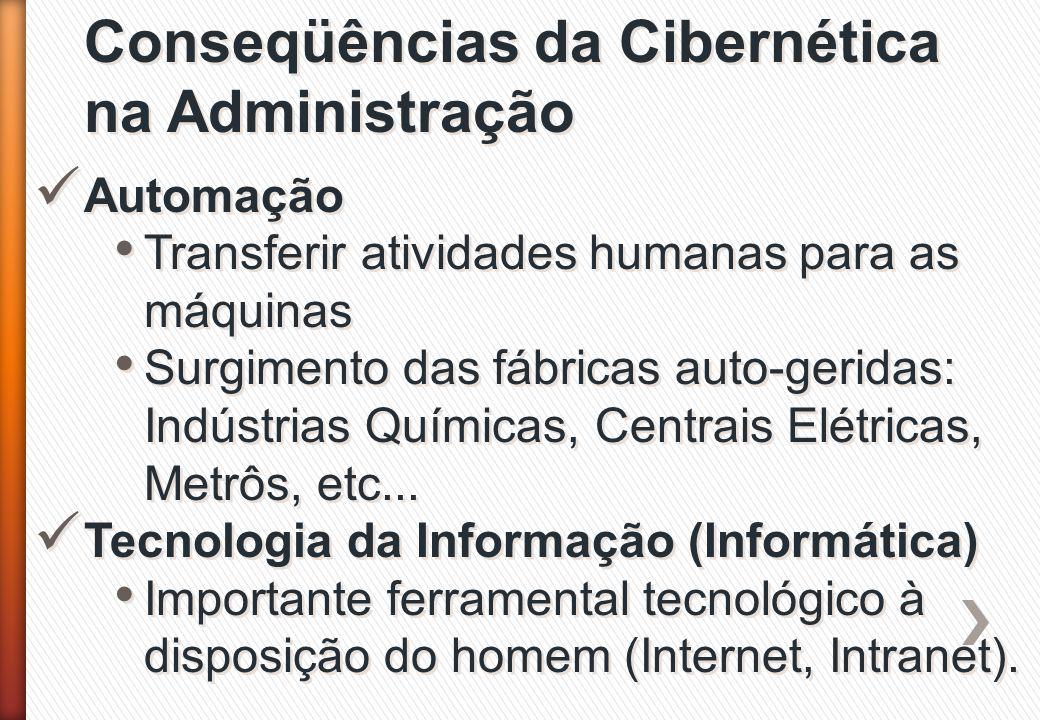 Conseqüências da Cibernética na Administração Automação Transferir atividades humanas para as máquinas Surgimento das fábricas auto-geridas: Indústria