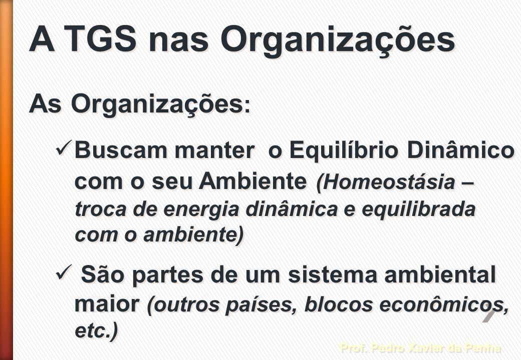 A TGS nas Organizações Prof. Pedro Xavier da Penha As Organizações : Buscam manter o Equilíbrio Dinâmico com o seu Ambiente (Homeostásia – troca de en