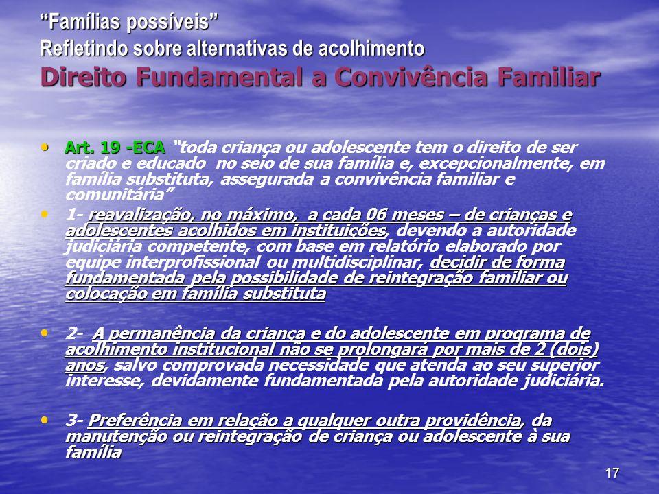 17 Famílias possíveis Refletindo sobre alternativas de acolhimento Direito Fundamental a Convivência Familiar Art.