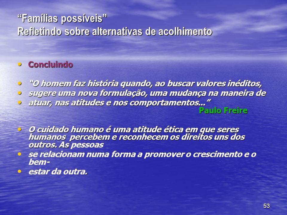 53 Famílias possíveis Refletindo sobre alternativas de acolhimento Concluindo Concluindo O homem faz história quando, ao buscar valores inéditos, O homem faz história quando, ao buscar valores inéditos, sugere uma nova formulação, uma mudança na maneira de sugere uma nova formulação, uma mudança na maneira de atuar, nas atitudes e nos comportamentos... Paulo Freire atuar, nas atitudes e nos comportamentos... Paulo Freire O cuidado humano é uma atitude ética em que seres humanos percebem e reconhecem os direitos uns dos outros.