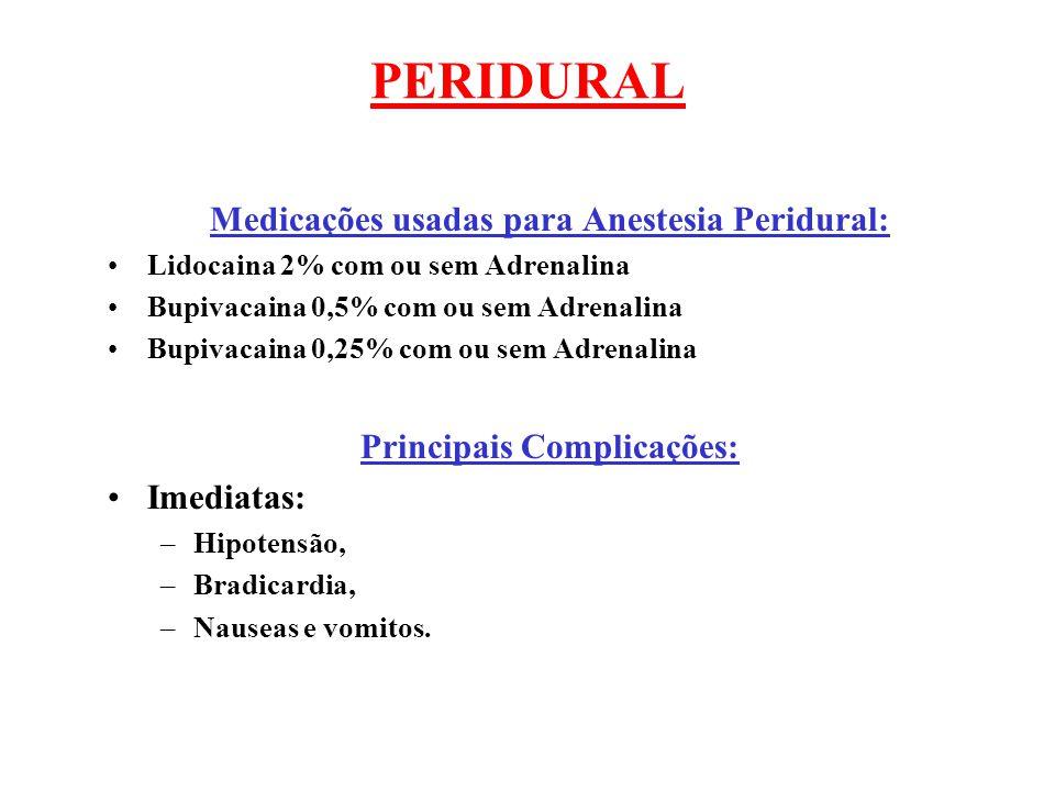 PERIDURAL Medicações usadas para Anestesia Peridural: Lidocaina 2% com ou sem Adrenalina Bupivacaina 0,5% com ou sem Adrenalina Bupivacaina 0,25% com