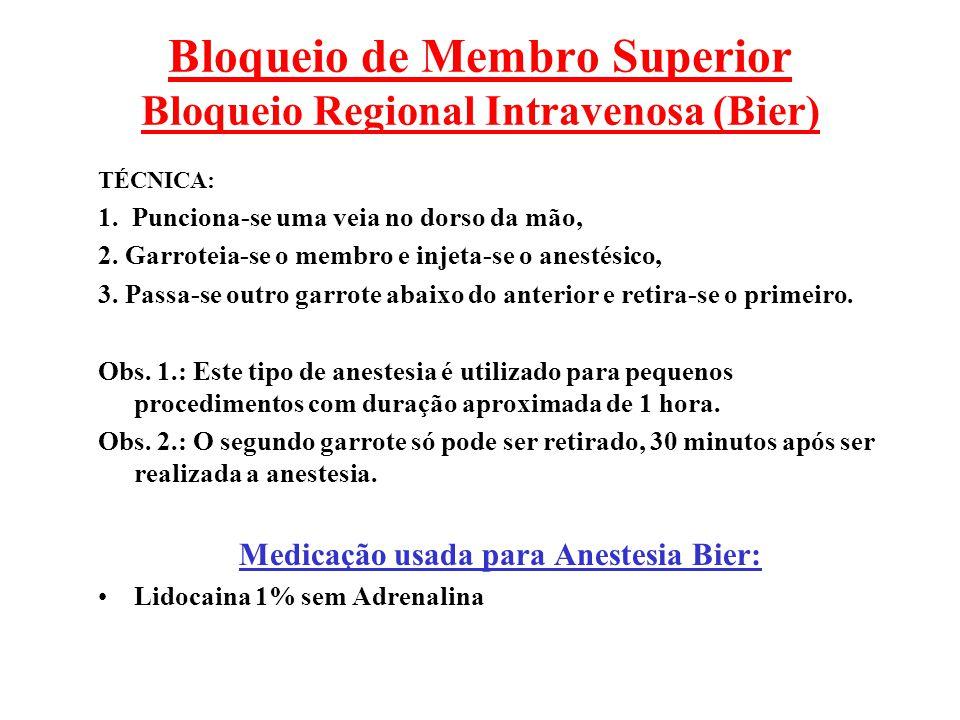 Bloqueio de Membro Superior Bloqueio Regional Intravenosa (Bier) TÉCNICA: 1. Punciona-se uma veia no dorso da mão, 2. Garroteia-se o membro e injeta-s