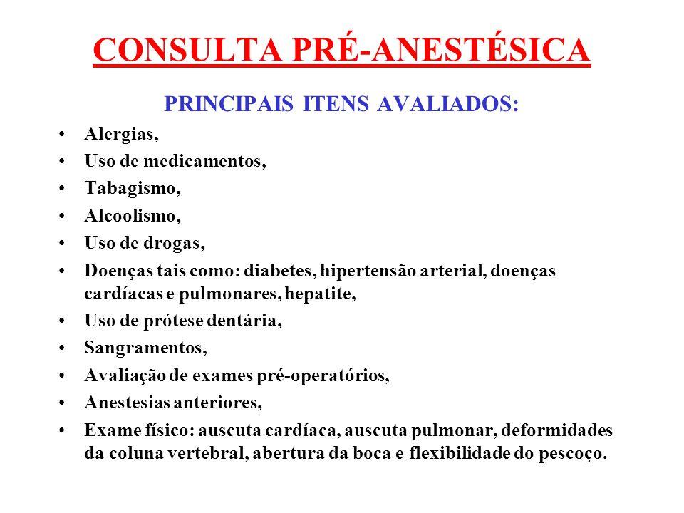 CONSULTA PRÉ-ANESTÉSICA PRINCIPAIS ITENS AVALIADOS: Alergias, Uso de medicamentos, Tabagismo, Alcoolismo, Uso de drogas, Doenças tais como: diabetes,