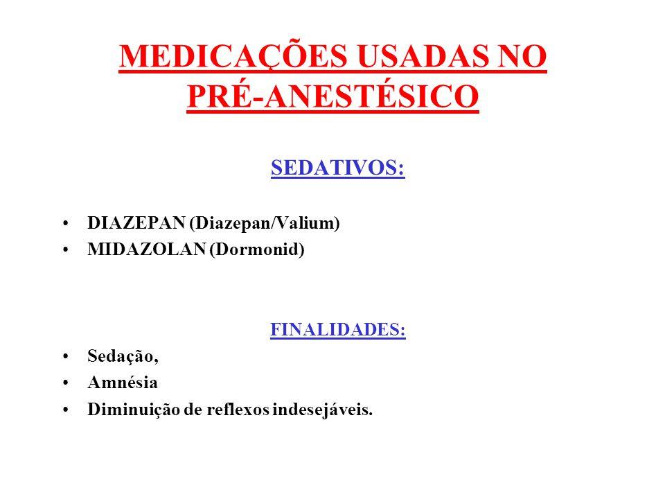 MEDICAÇÕES USADAS NO PRÉ-ANESTÉSICO SEDATIVOS: DIAZEPAN (Diazepan/Valium) MIDAZOLAN (Dormonid) FINALIDADES: Sedação, Amnésia Diminuição de reflexos in
