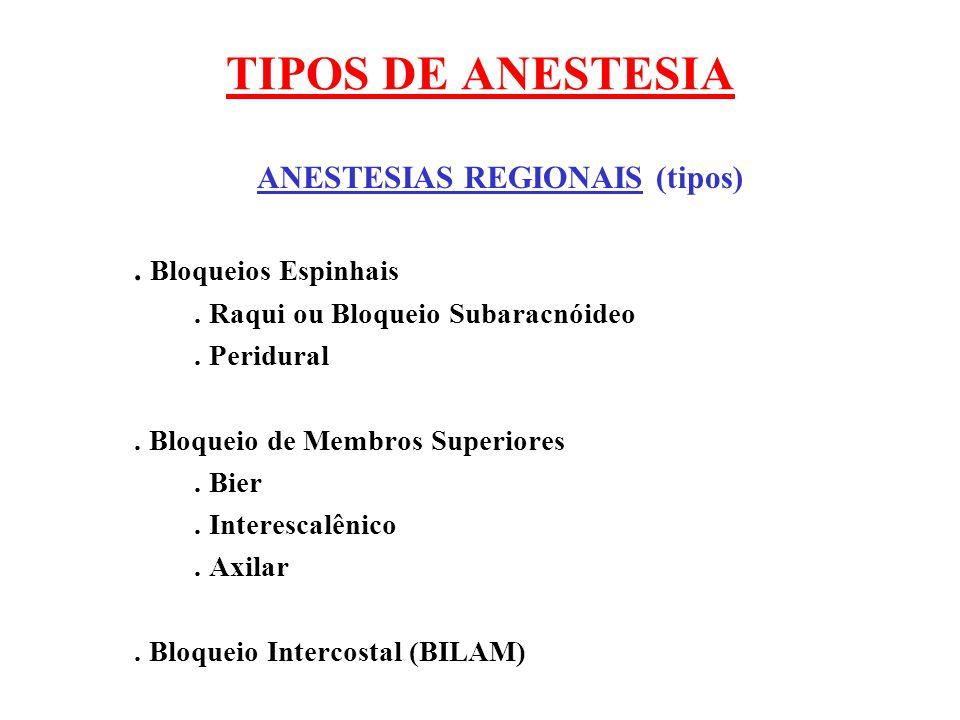 TIPOS DE ANESTESIA ANESTESIAS REGIONAIS (tipos). Bloqueios Espinhais. Raqui ou Bloqueio Subaracnóideo. Peridural. Bloqueio de Membros Superiores. Bier