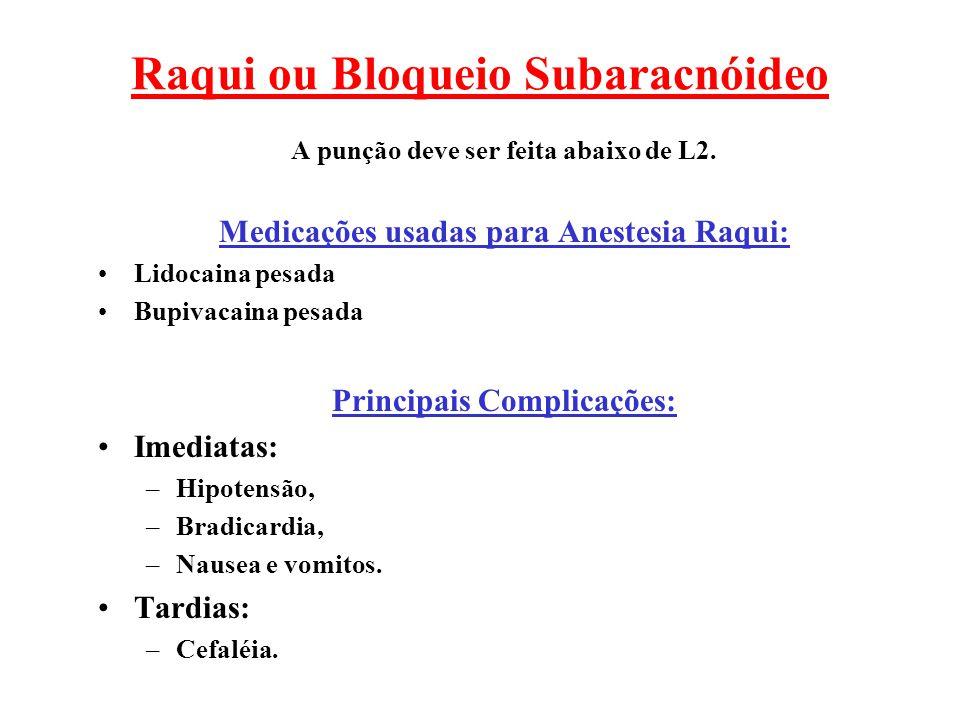 Raqui ou Bloqueio Subaracnóideo A punção deve ser feita abaixo de L2. Medicações usadas para Anestesia Raqui: Lidocaina pesada Bupivacaina pesada Prin