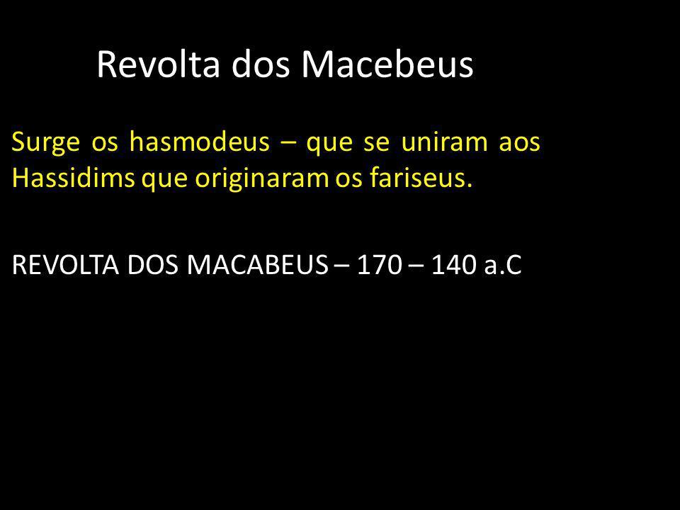 Revolta dos Macebeus Surge os hasmodeus – que se uniram aos Hassidims que originaram os fariseus. REVOLTA DOS MACABEUS – 170 – 140 a.C