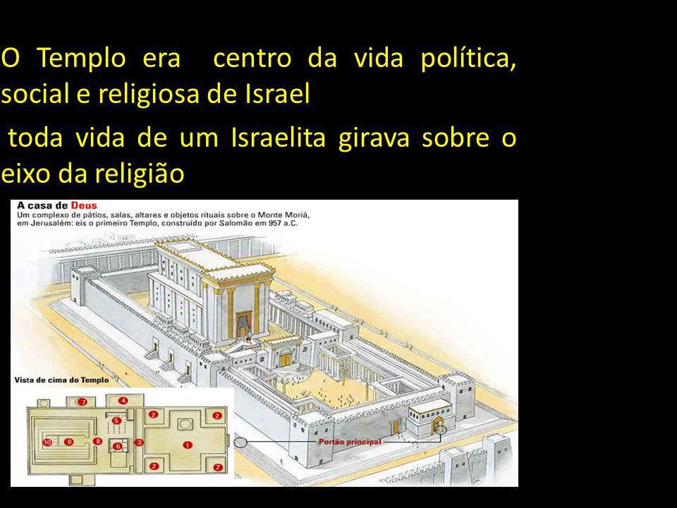 O Templo era centro da vida política, social e religiosa de Israel toda vida de um Israelita girava sobre o eixo da religião