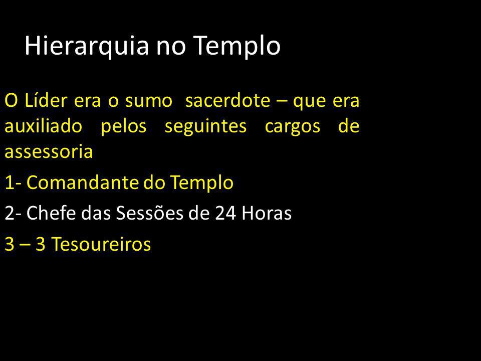 Hierarquia no Templo O Líder era o sumo sacerdote – que era auxiliado pelos seguintes cargos de assessoria 1- Comandante do Templo 2- Chefe das Sessõe