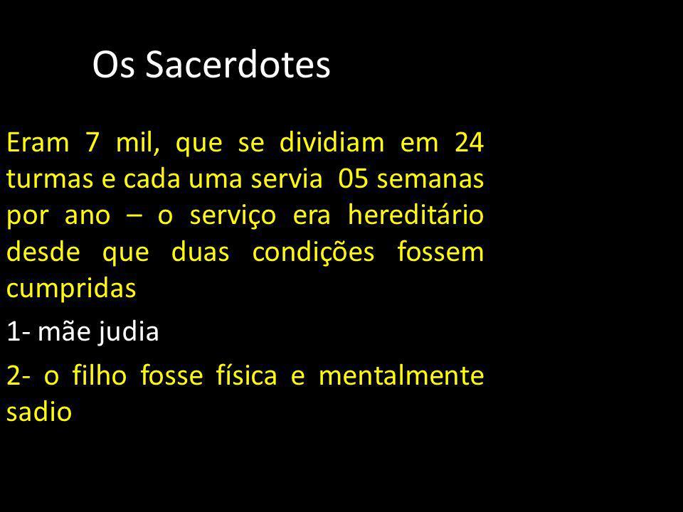 Os Sacerdotes Eram 7 mil, que se dividiam em 24 turmas e cada uma servia 05 semanas por ano – o serviço era hereditário desde que duas condições fosse