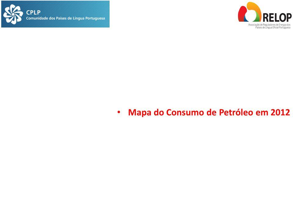 Mapa do Consumo de Petróleo em 2012