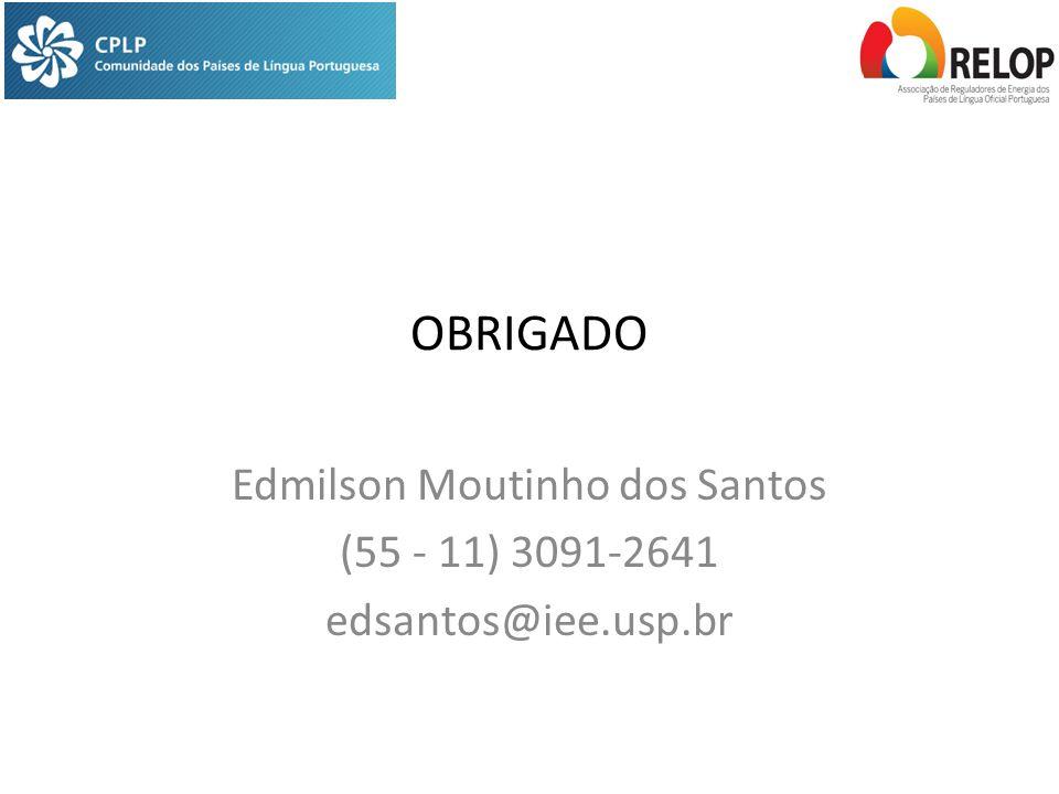 OBRIGADO Edmilson Moutinho dos Santos (55 - 11) 3091-2641 edsantos@iee.usp.br