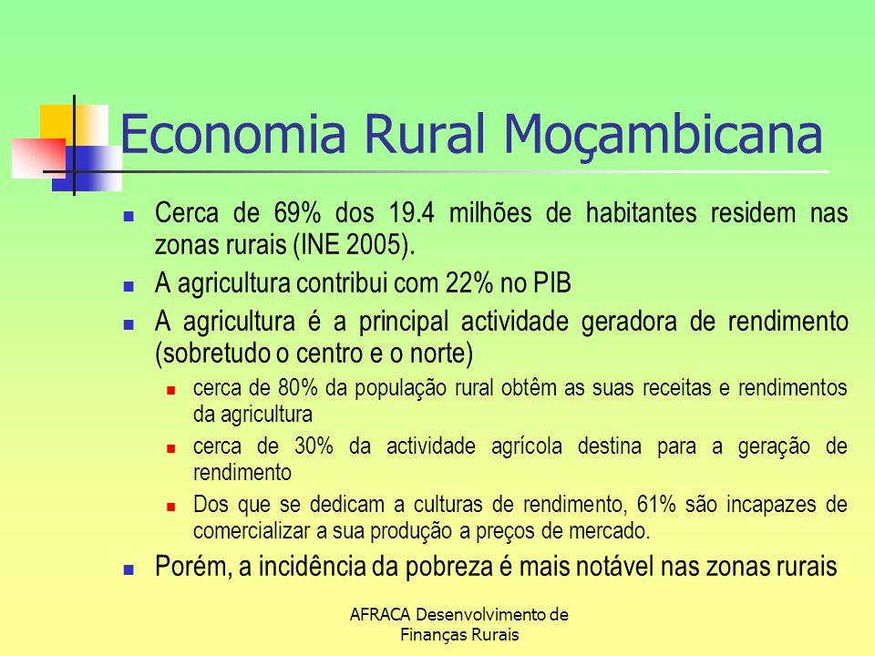 AFRACA Desenvolvimento de Finanças Rurais Economia Rural Moçambicana Cerca de 69% dos 19.4 milhões de habitantes residem nas zonas rurais (INE 2005).