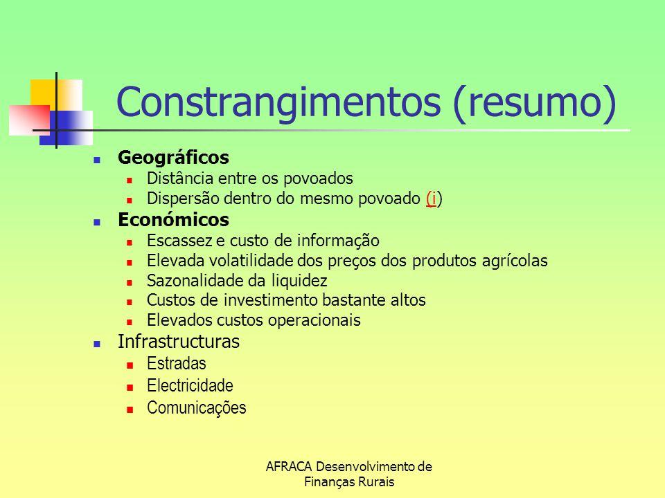 AFRACA Desenvolvimento de Finanças Rurais Constrangimentos (resumo) Geográficos Distância entre os povoados Dispersão dentro do mesmo povoado (i)(i Ec