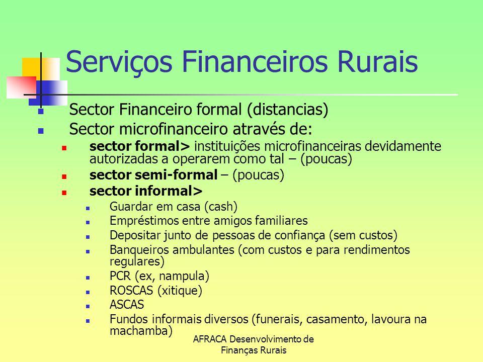 AFRACA Desenvolvimento de Finanças Rurais Sector Financeiro formal (distancias) Sector microfinanceiro através de: sector formal> instituições microfi