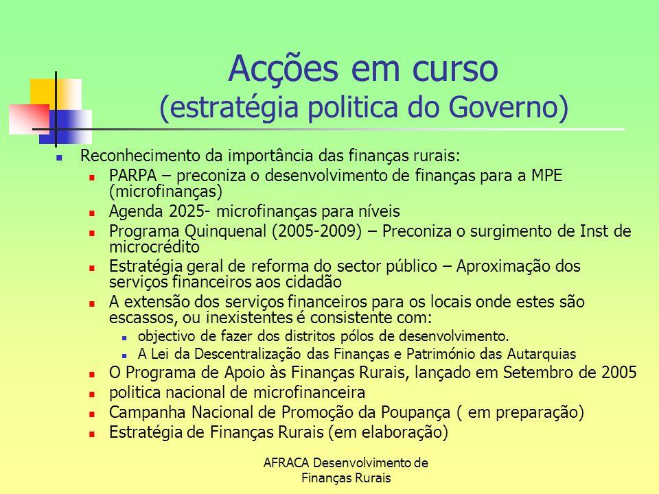 AFRACA Desenvolvimento de Finanças Rurais Acções em curso (estratégia politica do Governo) Reconhecimento da importância das finanças rurais: PARPA –