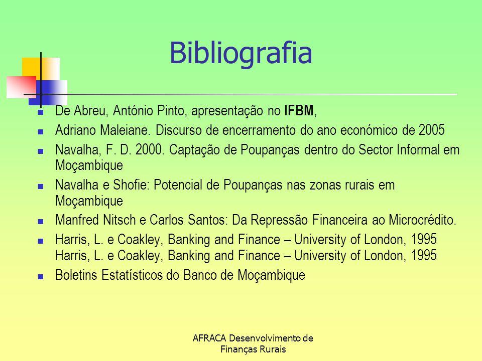 AFRACA Desenvolvimento de Finanças Rurais Bibliografia De Abreu, António Pinto, apresentação no IFBM, Adriano Maleiane. Discurso de encerramento do an