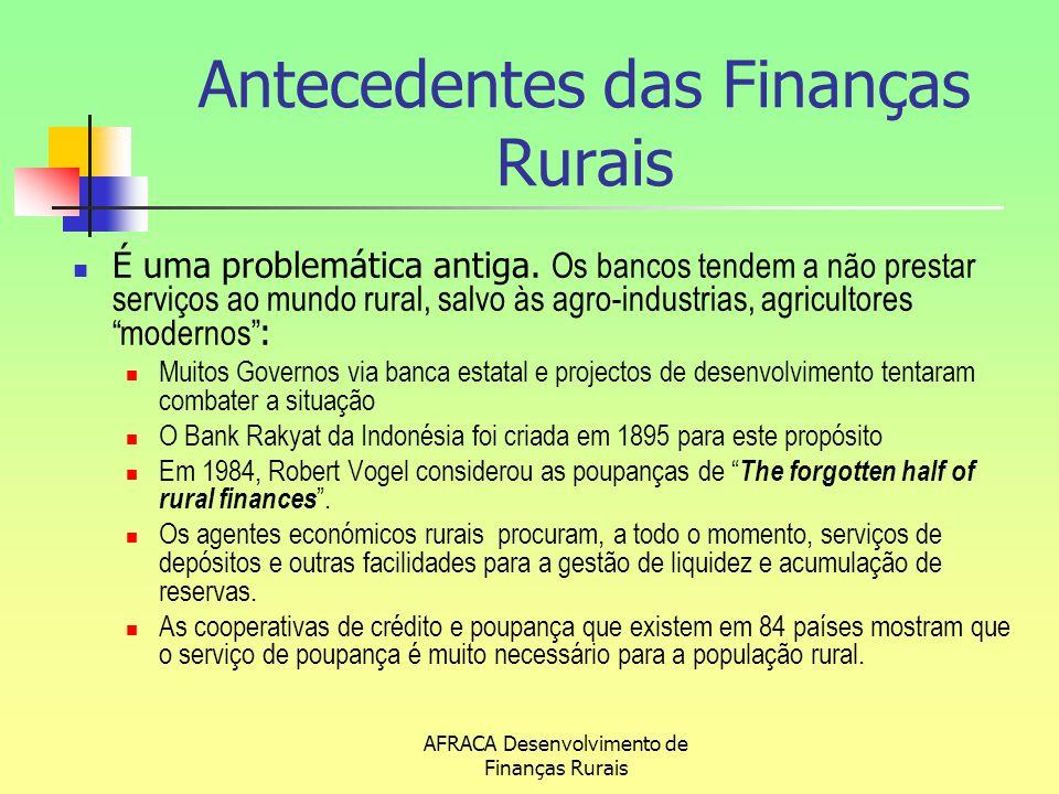 AFRACA Desenvolvimento de Finanças Rurais Antecedentes das Finanças Rurais É uma problemática antiga. Os bancos tendem a não prestar serviços ao mundo