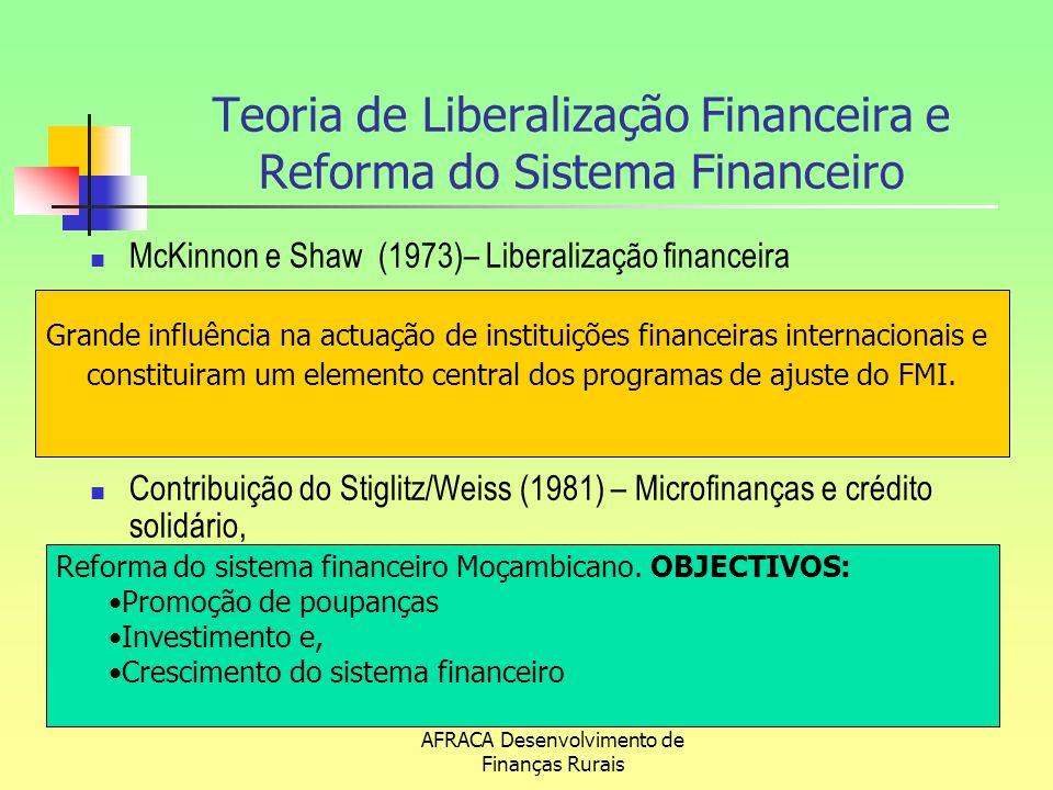 AFRACA Desenvolvimento de Finanças Rurais Impacto das Reformas Actividade de intermediação financeira liberalizada Eliminação do monopólio do Estado no sector financeiro Diversificação institucional e funcional do sector financeiro Maior abertura do sector ao mercado internacional Modernização do sistema financeiro, porém com elevados custos de intermediação Aumento das taxas de juro e da poupança interna (de cerca de 1% em 1991 para 11% em 2007) Aumento do número de instituições financeiras (Ex: de 3 para 12 Bcoms) Maior concentração do sistema financeiro nas grandes cidades e marginalização da população rural (i)